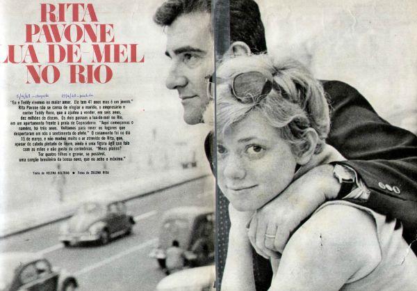 Com o marido, Teddy Reno, em 1968, logo depois de se casar com seu empresário