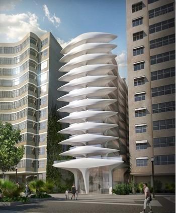 O único trabalho de arquitetura no Brasil foi este prédio projetado para a Avenida Atlântica, no Rio