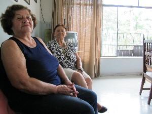 Alicia e Arlete numa das repúblicas de Santos