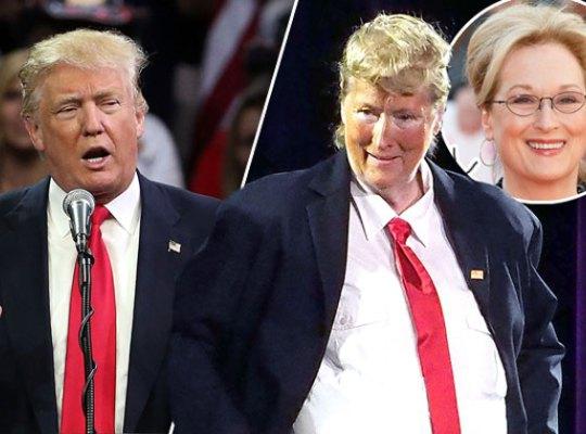 A atriz arrancou gargalhadas da platéia, encarnando um Trump pançudo e topetudo