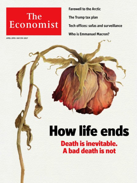 Capa da Economist: Como a vida termina. A morte é inevitável. Uma morte ruim não é