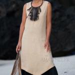 Achei um charme este vestido em duas tonalidades de linho