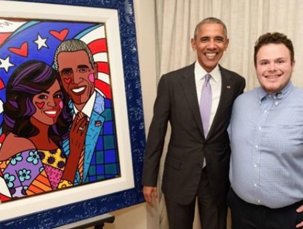 Brendan Britto, filho de Romero, com o ex-presidente Barak Obama